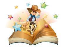 En bok med en ung cowboy som är främst av en salongstång Royaltyfri Bild