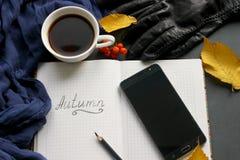 En bok med en kopp te och en mobiltelefon som omges av höstsidor på en grå bakgrund arkivbild