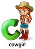 En bokstav C för cowgirl Arkivfoto