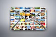 En bokstav, mejldesignbeståndsdel som göras av bilder av folk, djur och ställen Royaltyfria Bilder