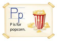 En bokstav P för popcorn royaltyfri illustrationer