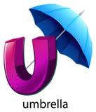 En bokstav U för paraply Royaltyfri Fotografi