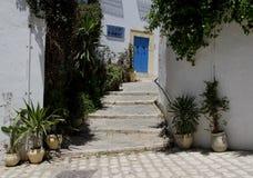 En bostads- gata i en blått- och vitstad Royaltyfri Bild