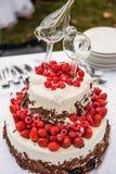 En bröllopstårta Arkivfoton