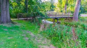 En-Brücke, zum des Flusses mit Gras und Bäumen vorbei zu kreuzen Stockbild
