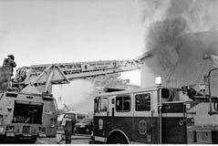 En brand för 3 larm i Calverton, Maryland arkivfoto