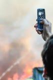 En brand i ett lager på 108 Frolovska Royaltyfri Foto