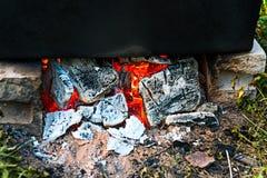 En brand med kol i en lägereld royaltyfria foton