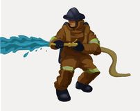 En brandman med en vattenslang royaltyfri illustrationer