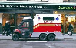 En brandstationlastbil i New York City Arkivfoto