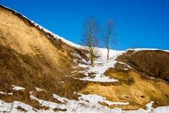 En brant kulle i bakgrunden av en blå himmel i vinter Tree två fotografering för bildbyråer
