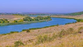 En bred flod som flödar mellan fält och lågt lutningar som täckas med torrt gräs med fridfullt att beta kor i ängen Arkivbilder