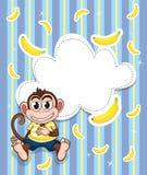 En brevpapper med en apa och bananer Arkivfoton