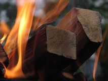 En brinnande orange ljus flamma av brand överväldigade svärtade avsnitt av björken, rökte fyrkantiga journaler fotografering för bildbyråer