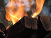 En brinnande orange ljus flamma av brand överväldigade svärtade avsnitt av björken, rökte fyrkantiga journaler royaltyfria foton