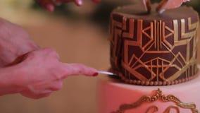 En brud och en brudgum som klipper deras bröllopstårta close upp lager videofilmer