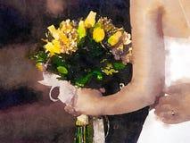 En brud och hennes bukett Fotografering för Bildbyråer