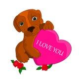 En brun hund i händerna rymmer hjärtan, mig älskar dig, en tecknad film på en vit bakgrund Arkivbilder
