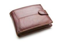 En brun läderplånbok som isoleras på vit bakgrund Arkivfoto