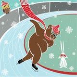En brunbjörn är att åka skridskor för sprinter. Humoristisk vektor Royaltyfri Illustrationer
