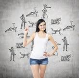En brunettkvinna som erbjuder en som man har råd med väg att vara sunda och för övning fysiska kultur och aktiviteter Hårdna bakg arkivbild