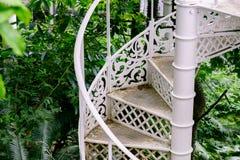En brunn använde järntrappuppgången i den offentliga botaniska trädgården i snut royaltyfria bilder