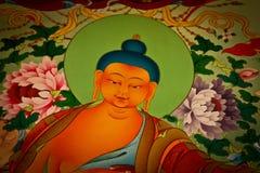 En Buddhaväggmålning i den Pema kloster, Bhutan Royaltyfri Bild