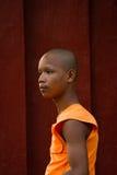 En buddistisk munk av Wat Thmei, Siem Reap, Cambodja Arkivbilder