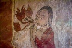 En buddistisk religionbild (freskomålningen) Arkivbilder