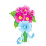 en bukett av blommor med en blå pilbåge Royaltyfria Bilder