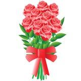 En bukett av blommor med en röd pilbåge Royaltyfri Bild