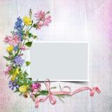 En bukett av blommor med en ram på tappningbakgrunden royaltyfri illustrationer