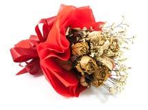En bukett av den isolerade torkade rosen Royaltyfri Foto