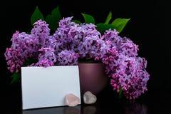 En bukett av lila blommor i en lila vas, små rosa hjärtor och en ren krnvert på en svart bakgrund Kort arkivbild