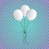 En bukett av realistiska ballonger på en blå genomskinlig bakgrund Tre vita ballonger på repen royaltyfri fotografi