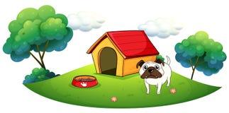 En bulldogg utanför dess hundhus stock illustrationer