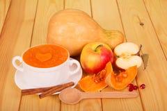 En bunke av pumpapuré, hel pumpa och äpplet, skivor, cinnam fotografering för bildbyråer