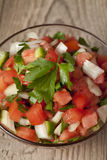 En bunke med hemlagad salsa Arkivfoto
