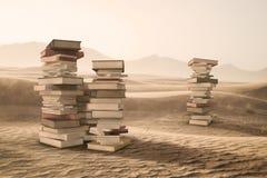 En bunt av böcker i öknen Arkivfoton