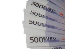 En bunt av euro för pengar 500 Arkivbild