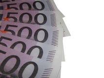 En bunt av euro för pengar 500 Fotografering för Bildbyråer