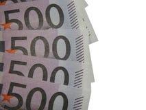 En bunt av euro för pengar 500 Arkivfoton