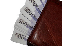 En bunt av eurohandväskan för pengar 500 Arkivfoton