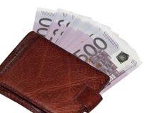 En bunt av eurohandväskan för pengar 500 Arkivbilder