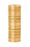 En bunt av guld- mynt Arkivbilder