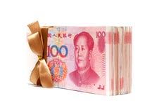En bunt av RMB-kines Yuan Note som isoleras på vit Fotografering för Bildbyråer