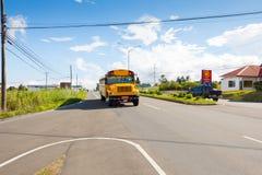 En buss kallade diablo i Alto Boquete Panama Royaltyfri Foto
