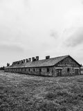 En byggnad av Auschwitz poland Arkivbild