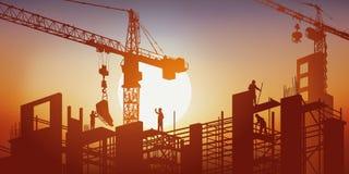 En byggnad byggs under solen under kranarna och materialet till byggnadsställning royaltyfri illustrationer