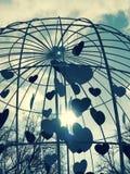 En caged vördnad till hjärtor och förälskelse parkerar in Shevchenko - Kyiv Royaltyfria Foton